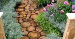 Садовая дорожка из деревянных спилов своими руками