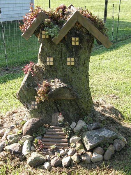 как украсить пень в саду своими руками